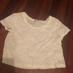 Express Cream Crochet Lace Crop Top